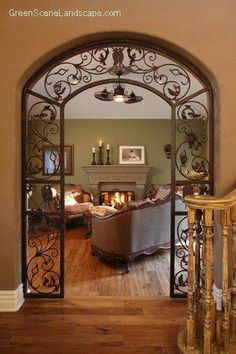 The Parlor Room, Step down living room with distressed wood floor, custom forged iron archway, Living Rooms Design Style At Home, Parlor Room, Sweet Home, Tuscan Decorating, Decorating Ideas, Design Case, Home Fashion, My Dream Home, Home Projects