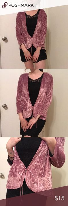 Express Velvet Tie Top Dusty pink colored velvet top from Express. Adorable long sleeved top with ties in front. This is a size medium so it's a little bit too big on me because i wear a small. in great condition! Perfect to jazz up a casual outfit or to throw on over a cute dress Express Tops