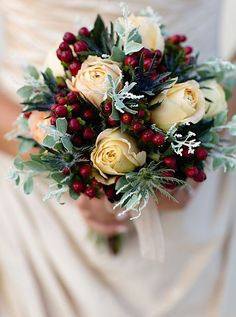 holiday-themed wedding bouquet