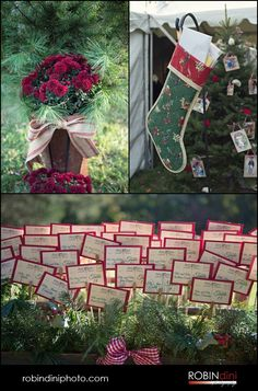 country wedding, christmas tree farm wedding, fall wedding, wedding photography, reception, photojournalism, visual storytelling, burlap bow, red flowers, christmas stocking, place cards, vintage christmas cards