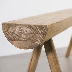 Teak stick bench detail by Lee west