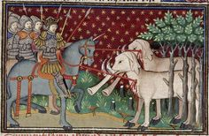 British Library, Royal MS 15 E. vi, Folio Knights attack two elephants. From the Romance of Alexander. Medieval Life, Medieval Art, Medieval Manuscript, Illuminated Manuscript, Costume Renaissance, Alexandre Le Grand, Elephant Pictures, French History, Alexander The Great