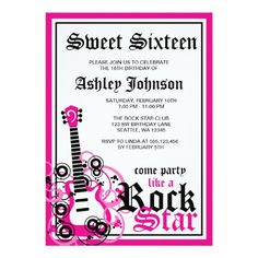 Rock Star Guitar Sweet 16 Birthday Party Pink 5x7 Paper Invitation Card