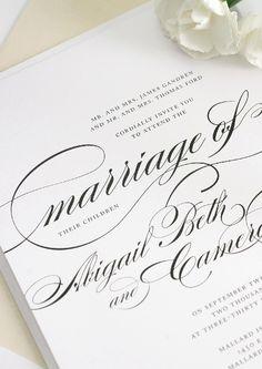 Champagne Wedding Invitations. Love the script! #champagneweddinginvitations #shineweddinginvitations #swirlsandswashes #largescript