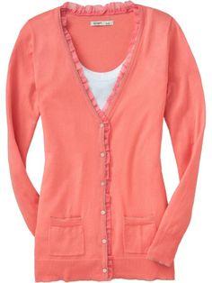 Target Ladies Cardigans | Old Navy:Women's Chiffon-Trim Boyfriend Cardigans $13.40! - A Penny ...