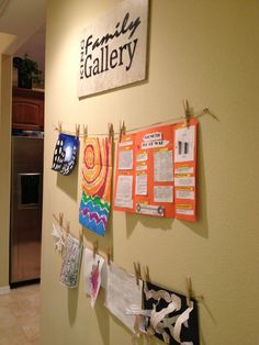 Looking for a creative way to display your child's artwork? Then check out this family art gallery idea. I can make a custom sign with your family name as the banner over the display of the precious works of art made by your children. Now available in my Etsy shop for $29.99! http://www.etsy.com/listing/119040225/family-art-gallery-sign/preview