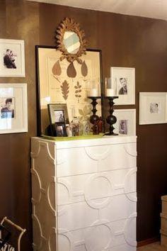 DIY Chain Link Dresser Redo.  http://sweetsomethingdesign.blogspot.com/2011/08/chain-link-dresser.html