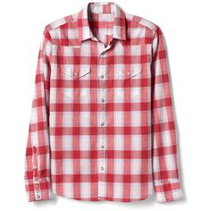 Gap Men Plaid Western Shirt ($20) ❤ liked on Polyvore featuring men's fashion, men's clothing, men's shirts, men's casual shirts, mens western snap shirts, mens slim fit casual shirts, mens slim shirts, mens western shirts and mens pearl snap shirts