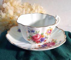 VINTAGE English Tea Cup White China Set gold Trim by BellesTeaShop, $14.50