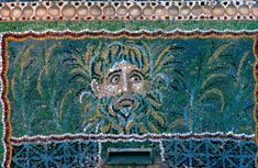 Pompeii (Campania, Italy), Casa della fontana grande (VI, 8,22, House of the Large Fountain.  Detail of a mosaic in the garden fountain with a mask depicting the god Oceanus.