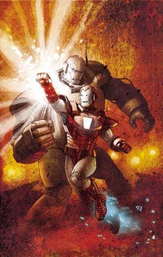 """Iron Man Vs The Iron Monger // artwork by Stephane Roux Variant Cover for """"Avengers Assamble Marvel Comics Art, Marvel Comic Books, Marvel Heroes, Comic Books Art, Comic Art, Book Art, Heroes Comic, Marvel Avengers, Marvel Comic Character"""