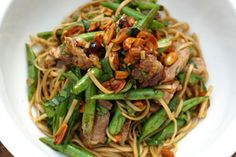 Egg noodles with pork green beans and roasted peanuts recipe, Viva – visit Eat Well for New Zealand recipes using local ingredients - Eat Well (formerly Bite) Asian Recipes, Chinese Recipes, Ethnic Recipes, Pasta With Green Beans, Bean Chilli, Peanut Recipes, Green Bean Recipes, Roasted Peanuts, Egg Noodles