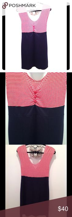 """Hello Sailor dress Very patriotic pin up style dress. Bottom half is blue, hard to see in the photo. Fitted but fabric has stretch. No zippers, slip on style. 36"""" shoulder to hem. like new condition Poetry Dresses"""