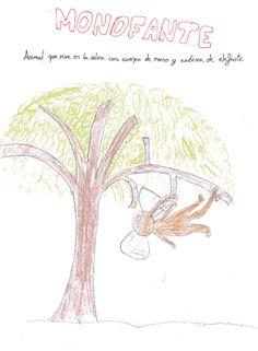 MONOFANTE: Animal que vive en la selva con cuerpo de mono y cabeza de elefante.