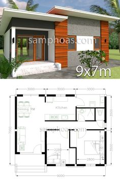 Plan Home Design 2 Bedrooms - SamPhoas Plansearch Plan Home Design 2 Bedrooms. Description: Ground floor: -Living room-wc -Kitchen -Dinning -Two Bed-One wc -Zine Roof tile 3d Home Design, Small House Design, Home Design Plans, Modern House Design, Design Ideas, Interior Design, Design Interiors, Plan Design, Interior Ideas