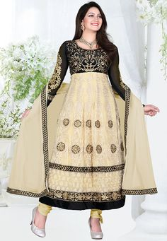 Ethnic Beige Color Net Designer Anarkali Suit - Rs. 2399.00