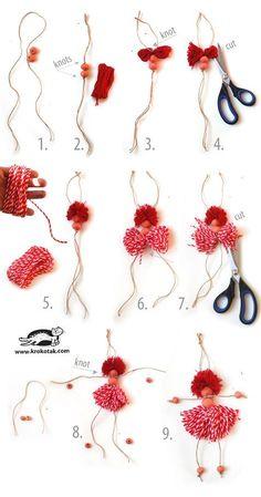 How to Make Yarn Dolls, DIY, craft, bead, #knutselen, kinderen, basisschool, kralenpopje maken, Moederdag