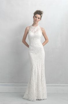 Madison James Wedding Dress is ideal for the slightly mod, sophisticated bride. This floral lace sheath features a beaded halter neckline. Wedding Dresses Photos, Bridal Wedding Dresses, Wedding Dress Styles, Bridesmaid Dresses, Halter Dresses, Inexpensive Wedding Dresses, Lace Wedding, Mermaid Wedding, Ceremony Dresses