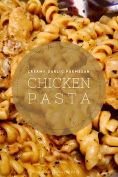 Best & healthy recipes of Instant Pot Creamy Garlic Parmesan Chicken Pasta Pasta Recipes Indian, Easy Healthy Pasta Recipes, Creamy Pasta Recipes, Vegetarian Pasta Recipes, Healthy Chicken Pasta, Pasta Dinner Recipes, Yummy Pasta Recipes, Chicken Pasta Recipes, Healthy Pastas