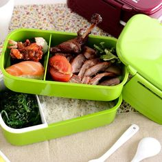 Lunch Time Japan style Double Tier Bento Lunch Box 4 Color Large Meal