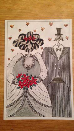 Bruidspaar zwart/wit