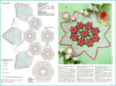 Вяжем салфетку с цветами! Crochet Doily Patterns, Crochet Motif, Irish Crochet, Crochet Designs, Crochet Doilies, Crochet Flowers, Knit Crochet, Knit Christmas Ornaments, Christmas Knitting