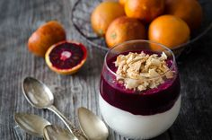 Coconut and Blood Orange Mousse with Toasted Coconut Sprinkles.  We love this on Valentine's Day.