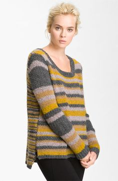 Elizabeth and James Slouchy Stripe Sweater available at - knitting Cozy Sweaters, Sweaters For Women, Pullover Mode, Pull Gris, Nordstrom, Elizabeth And James, Knitting Designs, Sweater Fashion, Pulls
