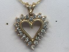 "10K YELLOW GOLD GENUINE DIAMOND HEART PENDANT 1/4CT ON AN 18"" CHAIN #Pendant"