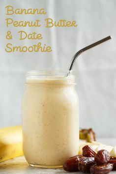 """This banana peanut butter & date smoothie is a healthy alternative to curb your sweet tooth! Sweetened naturally with dates, this smoothie is going to be your new favorite """"dessert! Good Smoothies, Vegan Smoothies, Fruit Smoothies, Peanut Butter Smoothie, Peanut Butter Banana, Vegan Keto, Date Smoothie Recipes, Date Recipes Healthy, Healthy Food"""