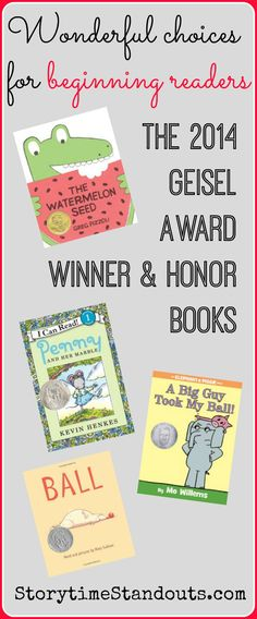 Storytime Standouts looks at four outstanding books for beginning readers - the 2014 Theodor Seuss Geisel Award winner and honor books. #kidlit #beginningreaders