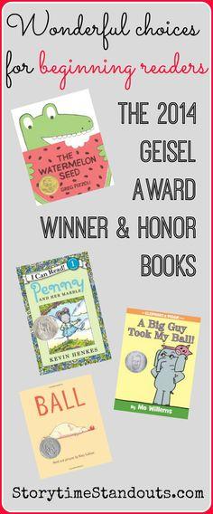 Storytime Standouts looks at four outstanding books for beginning readers - the 2014 Theodor Seuss Geisel Award winner and honor books. #kidlit #beginningreaders #kindergarten #1stgrade