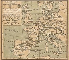Map of the oldest universities in Europe