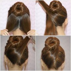 Criss Cross Bun: Roll upper half of your hair into a bun. Divide lower hair into two. Cross the right part UNDER the bun and wrap the hair around it. Repeat this move on the left part. Done! (Via Life Hack)