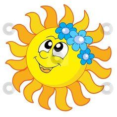 Illustration of Smiling Sun with flowers - vector illustration. vector art, clipart and stock vectors. Free Clipart Images, Art Clipart, Vector Art, Smileys, Sun Clip Art, Birthday Charts, Good Day Sunshine, Stock Foto, Rainbow Art