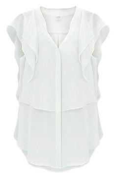 Shop White V Neck Ruffles Sleeve Chiffon Blouse online. Sheinside offers White V Neck Ruffles Sleeve Chiffon Blouse & more to fit your fashionable needs. Free Shipping Worldwide!
