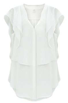 White V Neck Ruffles Sleeve Chiffon Blouse US$22.13