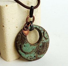 Rustic Sage Ceramic Pendant with Mod Geo Circles by Artgirl56, $12.50