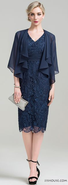 You will surely not go unnoticed in this all-over lace dark navy dress. #Motherofthebridedress