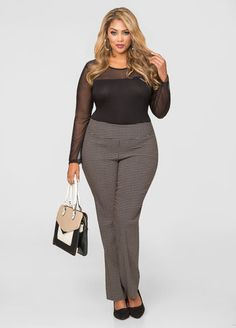 Tan Printed Millinium Pull On Pant From The Plus Size Fashion Community At www.VintageAndCurvy.com