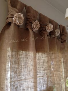 "Té de cortinas de arpillera teñida rosetones - amplia Tabs ""Burlap Curtains- Tea dyed rosettes- Wide Tabs Thank you for stopping by my rustic and chic shop Tab Curtains, Burlap Curtains, Curtains Living, Nursery Curtains, Country Curtains, Grey Curtains, Striped Curtains, Long Curtains, Blackout Curtains"