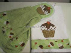 conjunto cozinha pano de prato e bate mão  green cupcake