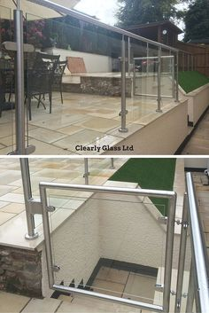 Stainless steel and glass garden balustrades, including an opening gate.