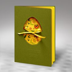 The card is made of green olive paper. There is a laser cut egg with a yellow ribbon on the cover. The insert is yellow with colorful print at the front. Easter Crafts, Happy Easter, Cardmaking, Projects To Try, Cement, Paper, Card Ideas, Cards, Handmade