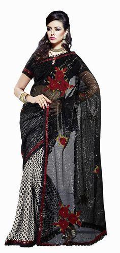 $61.04 Black Faux Georgette Sequins Saree 24691