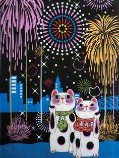 Japan Tenugui Manekineko Fortune Cats Happy by japanmomijidesigns