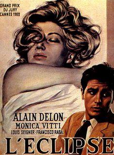 poster for L'Eclisse   (Michelangelo Antonioni, 1962)  starring Monica Vitti and Alain Delon