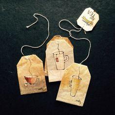 363 days of tea. Tea Bag Art, Tea Art, Tee Kunst, T Bag, Arts And Crafts, Paper Crafts, Coffee Painting, Tea Bowls, Watercolor Cards
