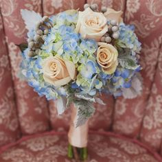 dusty miller, peach and blue wedding bouquets | Blue and Peach Bridesmaid Bouquets