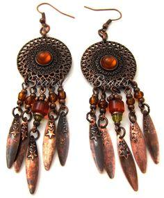Starry Sunset Copper Earrings  Boho Earrings by StarshineBeads